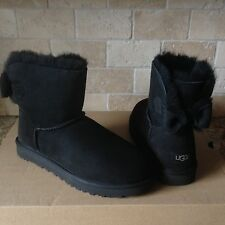 UGG NAVEAH SUEDE BAILEY BOW BLACK SHEEPSKIN MINI BOOTS SIZE US 8 WOMENS NIB