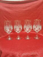 VINTAGE LIBBEY ARBYS WINTER PINES TULIP WATER GLASSES/GOBLETS GOLD RIMS SET OF 4