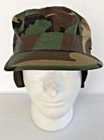 UNISSUED USGI WOODLAND CAMO BDU RANGER COMBAT PATROL CAP WITH EARFLAP (7 1/2)