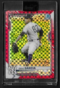 2021 Bowman Chrome X Deivi Garcia red checkerboard refractor #55 3/3 RC Yankees