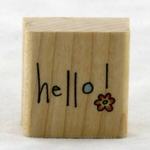 Hello Doodle Wood Mounted Rubber Stamp Penny Black NEW party note gift tag fun
