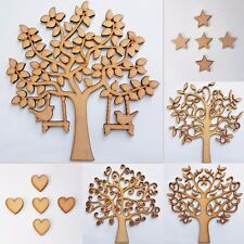 Wooden Tree, MDF Wood Shape Blank Family Arts Crafting, FREE Stars or Hearts