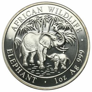 Somalia, 100 Shillings, 2007, Elephant, 1 oz. of .999 Fine Silver Coin