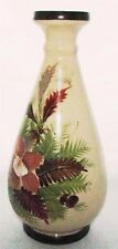 Vintage Bristol Hand Painted Rich Autumn Art Deco Floral Art Glass Urn Vase
