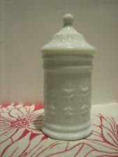 Vintage ~ White Milk Glass Jar with Glass Lid - Scroll Patterns ~ EPOC