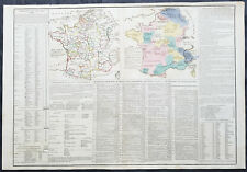 1810 Emmanuel Las Cases Large Antique Military, Physical Maps of France Napoleon