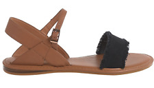NEW BAMBOO BLISS STRAPPY SANDALS WOMENS 10 FLATS, BLACK/NATURAL   FREE SHIP