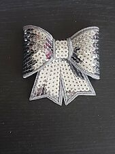 grey silver 3D sequin bow hotfix iron on Motif patch Lace xmas costume Applique
