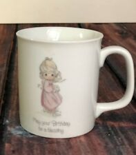 Sweet White Precious Moments May Your Birthday Be A Blessing Coffee Cup,1994 Euc