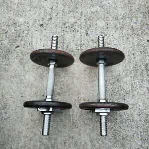 Lot of 2 Vintage Gold's Gym Dumbbells Standard, Weight Plates & Bar 29 lbs total