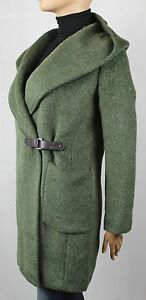 Ralph Lauren Loden Green Hooded Wool Jacket Coat Leather Strap NWT
