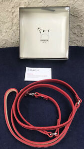 Coach Red Leather Dog Leash For Small Dogs Under 25 Lbs.