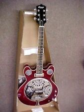 CUSTOM ELECTRIC ACOUSTIC RESONATOR GUITAR - CANDY RED LACQUER FINISH W/ GIG BAG