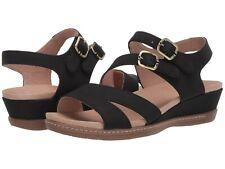 Dansko Angela Open Toe Black Milled Nubuck Leather Strappy Wedge Sandal Size 36