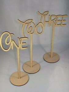 Freestanding Disney Wooden heart table place numbers - Wedding - 30cm tall MDF