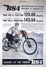 1951 B.S.A. Star Twin & Golden Flash Motor Cycles at Bonneville AD: Print ADVERT