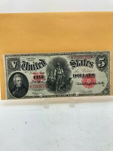 1907 US $5 FIVE DOLLAR RED SEAL WOODCHOPPER LARGE NOTE
