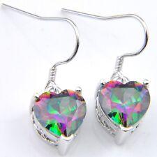 Woman Love Heart Natural Rainbow Mystic Fire Topaz Silver Dangle Hook Earrings