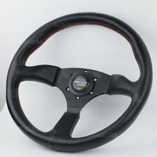 14inch 350mm JDM Spoon Black Deep Dish Leather Racing Sport Steering Wheel