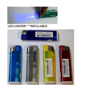 Lof of 12--Electronic LED Lighter  Flash Light, Random Color,Refillable--EL50LED