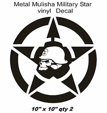 METAL MULISHA Military Star Vinyl Truck Decal 10x10 qty 2 (Fits Jeep Wrangler)