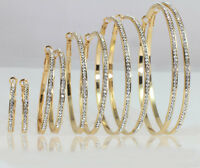 18k Gold Plated Large, Medium, Small Hoop Earrings Made With Swarovski Crystal