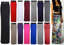 New Womens Ladies Pencil Striped Bodycon High Waist Tube Wiggle Long Maxi Skirt