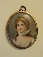 VICTORIAN PORTRAIT PAINTING ON PORCELAIN PENDANT / BROOCH, GOLD FILLED MOUNTING