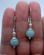 Nature Smooth Green Amazonite & White Pearl Sterling Silve Leverback Earring