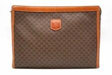CELINE Vintage Macadam Pattern Clutch Bag PVC Leather Brown 0218h