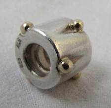 Authentic Pandora Silver Drum With 14K Gold Dots Bracelet Charm 790229 Rare!