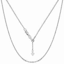10K White Gold Adjustable Cable Link Chain, Width 0.9mm