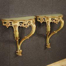 Coppia di console veneziane mobili in legno laccato tavoli tavolini stile antico