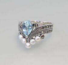9927204 Silberner Blautopas-Perlen-Ring Markasiten Gr.57 925er Silber