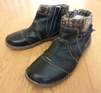 Josef Seibel Ladies Side Zip Black Leather Comfort Ankle Boots Size UK 6.5 EU 40