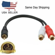 """6 inch RCA Male to 2 RCA Female Gold Plated Audio Adapter Y Splitter Cable 6"""""""