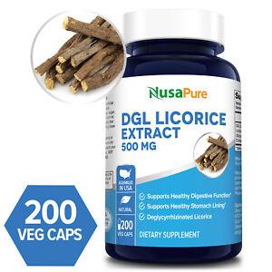 NusaPure DGL Licorice Extract 500mg - 200 Veg Caps (Non-GMO & Gluten-free)