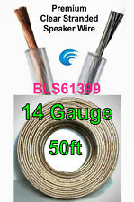 50' ft 14 Gauge Clear Stranded Speaker Wire Home Car Stereo Audio Cable Wiring