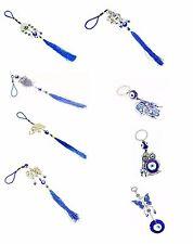 Set of 8  Blue Evil Eye Hamsa Hand Keychain Car Hanging Amulets Good Luck Gift
