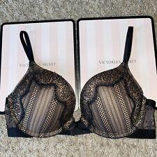 Victoria's Secret 34C Bombshell Miraculous Plunge Bra Add 2 Cup Size Push Up EUC