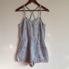 TOPSHOP Blue Pink Floral Strappy Shorts Playsuit Size 12 Excellent Condition