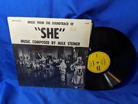 """She"" OST LP Cinema LP-8004 Max Steiner VG+ VG+ Shrinkwrap"
