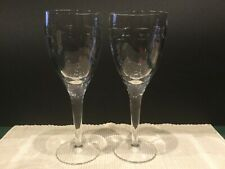 """2 Waterford Crystal GEO Wine Glasses by John Rocha 9"""" tall - Pair 2 - Perfect"""