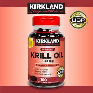 Kirkland Signature Krill Oil 500mg (Omega-3 & Astaxanthin), 160 Softgels,