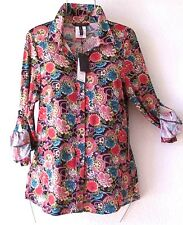 NEW~$140~BCBG~Teal Blush Red & Black Daisy Floral Blouse Shirt Top~8/10/M/Medium
