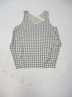 new ELODIE Women's Size S Sleeveless White/Black Check Tunic Blouse
