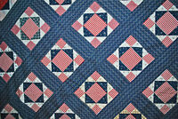 ANTIQUE QUILT TOP 1890's PATRIOTIC THREE CHEERS RED WHT BLUE HAND SEWN