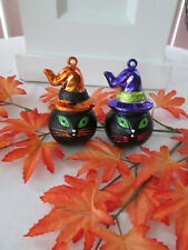 """Simply Halloween Lot of 2 Black Cat w/.Witch Hat 3"""" Ornaments, New"""
