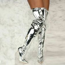 Sexy Nightclub Pointed Side Zip Super High Stiletto Over The Knee Women Boots