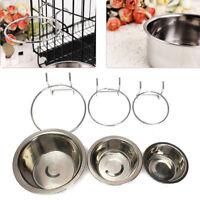 Pet Dog Stainless Steel Bolt Bowl Hook On Cage Feeder Rabbit Crate Food Basin